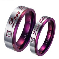 JewelryWe Brand New Stainless Steel Promise Ring Love Couple Wedding Bands Engagement Purple Gift (4mm)