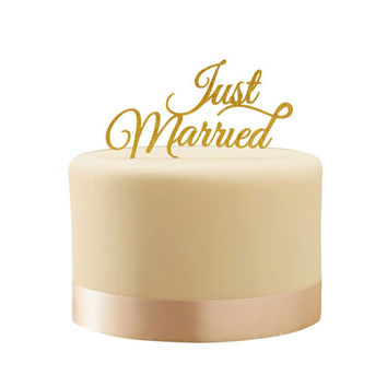 Cake Topper | Just Married Topper | Wedding Cake | Gold Cake Topper | Cake Topper | Gold | Wedding