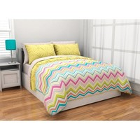 5pc Adorable Girl Yellow Pink Aqua Green Reversible Chevron Twin XL College Dorm Comforter Set (5pc Bed in a Bag)