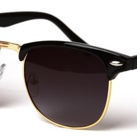 Vintage Gradient Half Frame Wayfarer Style Sunglasses- Black/ Gold with GT Pouch