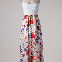 Blooming Gardens Maxi Dress - White