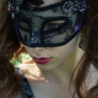 Masquerade Mask black Masquerade ball mask venetian mask mardi gras mask lace mask black swan purple feather gothic mask fairy mask REBEL