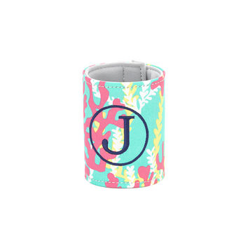 Monogrammed Coozie Coral Reef, Hot Pink and Aqua Can Cozy, Koozie, Personalized Coozie, Bridesmaid Coozie, Beer Koozies, Can Wrap