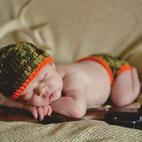 Daddy's little Hunter Camo and Orange Baby Diaper Cover and Baby Hat Set
