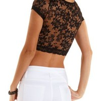 Short Sleeve Lace Crop Top by Charlotte Russe
