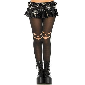 Happy Jack Black Opaque Jack O Lantern Tights Stockings Hosiery