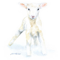 Lamb Watercolor Painting Giclee Print 8 x 10 Fine Art Nursery Print