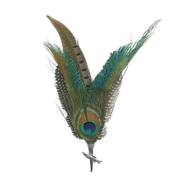 Peacock & Pheasant Fedora Feather Pin with Fish Medallion