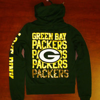 Victoria's Secret PINK GREEN BAY PACKERS ZIP UP HOODIE BLING Squins NFL V045-068