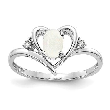 14k White Gold Opal and Real Diamond Heart Ring