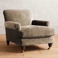 Slub Velvet Willoughby Chair, Hickory by Anthropologie