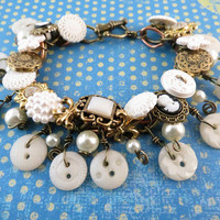 Vintage style button Bracelet by SirensAllure on Etsy