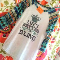 Hide your crazy black tribal tank, life's better in bling, bling, life's better, better, life, tribal tanks, tank, tribal raglans, raglan, pink raglans, green raglans, hide your crazy, crazy tanks, funky tanks, funky raglans, funky shirts, shirts, t-shi
