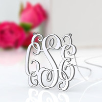 Jewelry name plates initial necklace 1 inch 925 sterling silver monogram necklace as birthday present