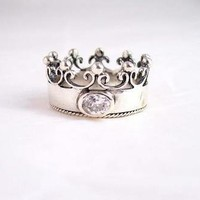 """Sterling Silver Crown with Cubic Zirconia """"Princess"""" Ring, Clear"""