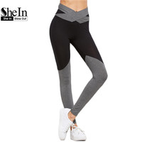 SheIn Casual Leggings Women Fitness Winter Warm Leggings Workout Clothes for Women Contrast Crossover Belted Leggings