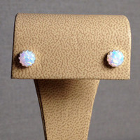 6mm Round White Manmade Opal Cabochon Sterling Silver Stud Earrings