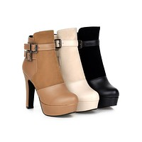 Buckle Ankle Boots High Heels Women Shoes Fall|Winter