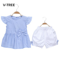 V-TREE Baby Girls Clothing Sets Summer Kids Blouse And Shorts Suit Sets Cute Cotton Baby Toddler Clothes
