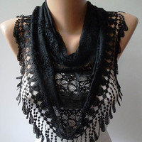 Laced Black Scarf with Black Trim Edge  - Speacial Laced Fabric