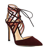 Gianvito Rossi - Adria Suede D'Orsay Point-Toe Pumps - Saks Fifth Avenue Mobile