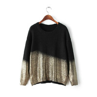 Gradient Color Long-Sleeve Knitted Sweater