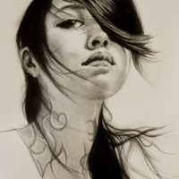 Art Print Portrait Black and White Drawing Edgy Beautiful Young Woman