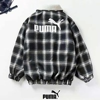 PUMA Autumn And Winter New Fashion Plaid Bust And Back Letter Print Keep Warm Long Sleeve Coat Top Women