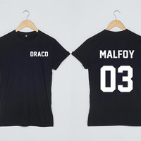 Harry Potter Shirt Draco Malfoy 03 Tshirt two sides T Shirt Team T-Shirt Shirts Women Size S M L XL Grey Black White