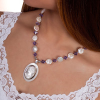 Antique Cameo Necklace Jewelry, Shell, Unique Bridal Necklace, Vintage Beach Wedding Jewellery Purple Statement Bridal Necklace, Gift Bride