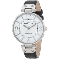 Anne Klein 10-9169WTBK Women's White Dial Black Leather Strap Stainless Steel Watch