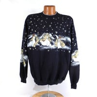 Ugly Christmas Sweater Vintage Sweatshirt Snow Scene Angels Party Xmas Tacky Holiday XXL