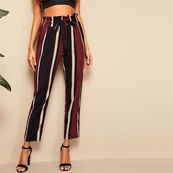 Paperbag Waist Striped Pants Women Clothes Elegant High Waist Pants  Office Lady Workwear Trousers
