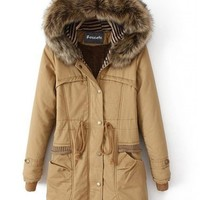 Roseate Boutique Women's Long Down Coat Brown Casual Parkas with Hood