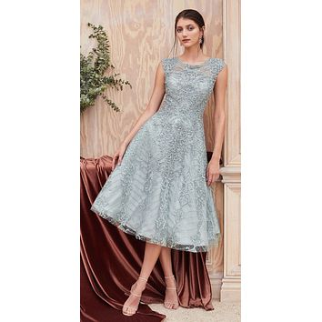 Cap Sleeved Embellished Tea-Length Prom Dress Eucalyptus