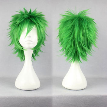 Anime Cosplay Kosuke Ueki 32cm Synthetic Short Green Wig,Colorful Candy Colored synthetic Hair Extension Hair piece 1pcs WIG-258A