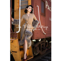 FREE SHIPPING Le Palais Vintage slim camel color wool fur wrap long coat faux fur
