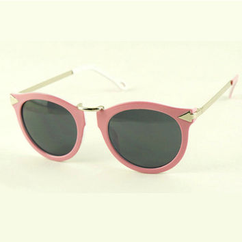 Arrow Round Frame Vintage Pink Sunglasses