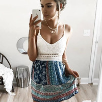 Patchwork Flowers and Lace Mini Dress - FINAL SALE