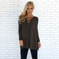 Late Night Crossing Sweater in Olive