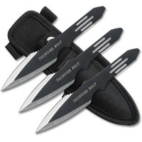 Perfect Point RC-595-3 Thunder Bolt Throwing Knife Set with Three Knives, Black Blades, Steel Handle, 5-1/2-Inch Overall