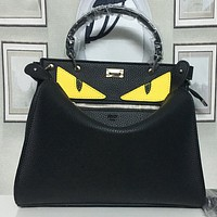 FENDI Women Fashion Leather Crossbody Handbag Tote Clutch Bag Set Two Piece