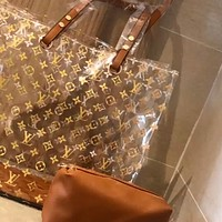 LV simple transparent jelly bag handbag mother-in-law bag two-piece set