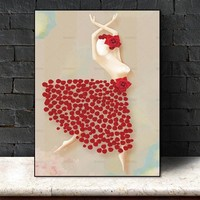 Picture Wall art wall dancer girl canvas painting art canvas Picture decor poster art print girl on canvas Wall Picture no frame