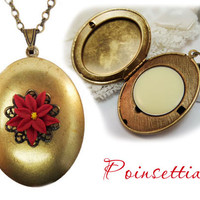 Poinsettia Solid Perfume Locket  - Refillable Holiday Perfume, Winter Fragrance, Red Poinsettia Locket, December Birthday Gift Idea