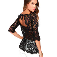 Black Half Sleeve Lace Back Cut Out Top