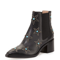 Valentino Studded Turquoise Leather Chelsea Boot, Black