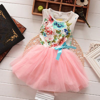 Baby Toddler Girl Floral Top with Light Pink Tulle Skirt Dress 2T to 5Yr