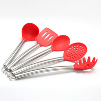 On Sale Easy Tools Hot Deal Home Kitchen Helper Kitchenware Set Stainless Steel High Temperature Resistance Spoon 5pcs/set [10211414668]