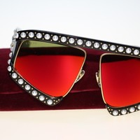 Gucci Women Sunglasses GG0234S 002 Black Red Mirrored Lens 64mm Authentic